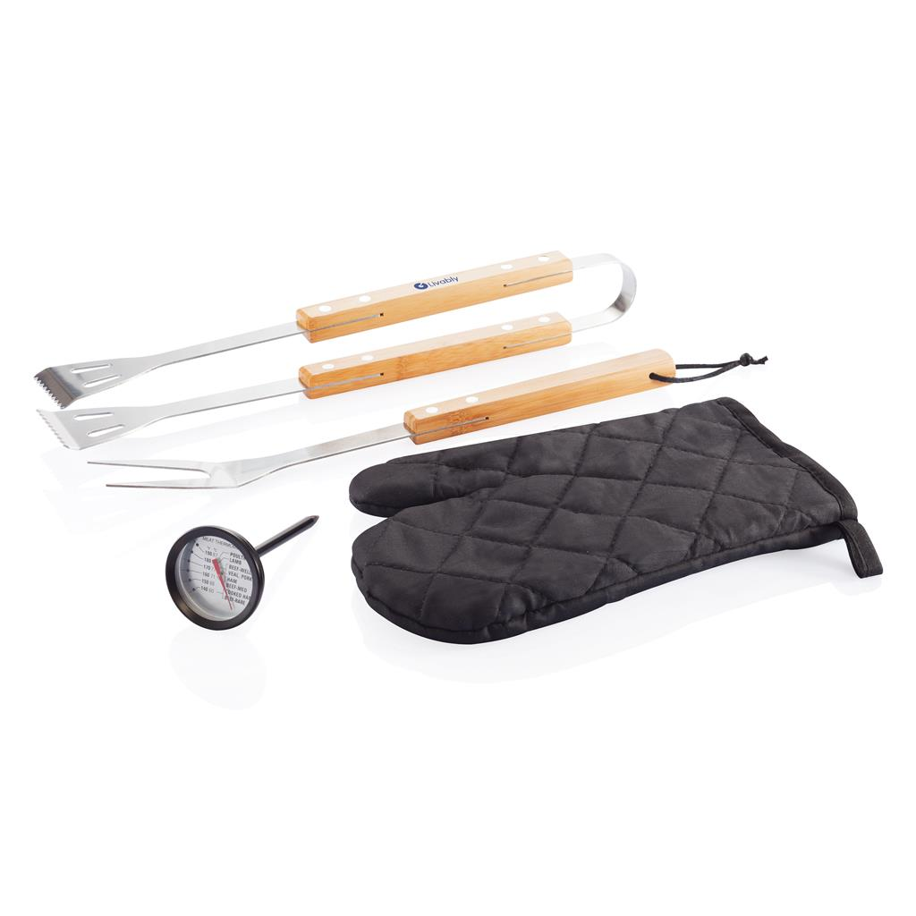 Bamboe barbecue set 4-delig